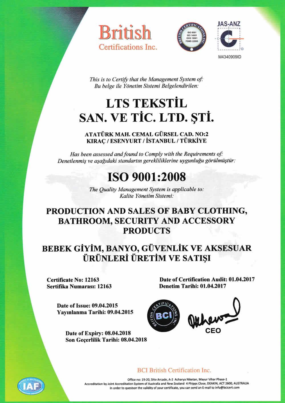 ISO 2017 Sevi Bebe Kalite Belgeleri  1