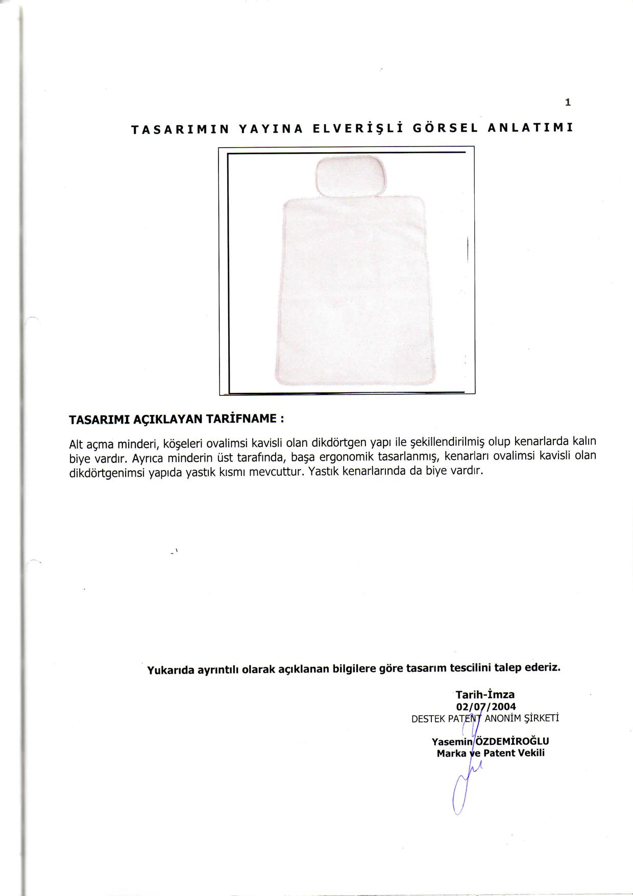 Pratik Alt Açma Minderi Patent 2
