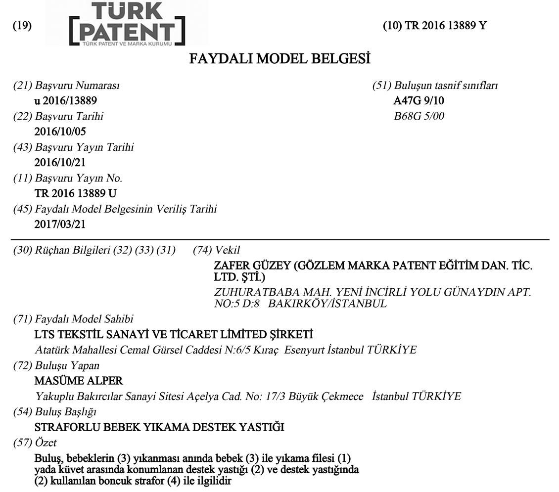 Destekli Bebek Banyo Filesi Patent 2