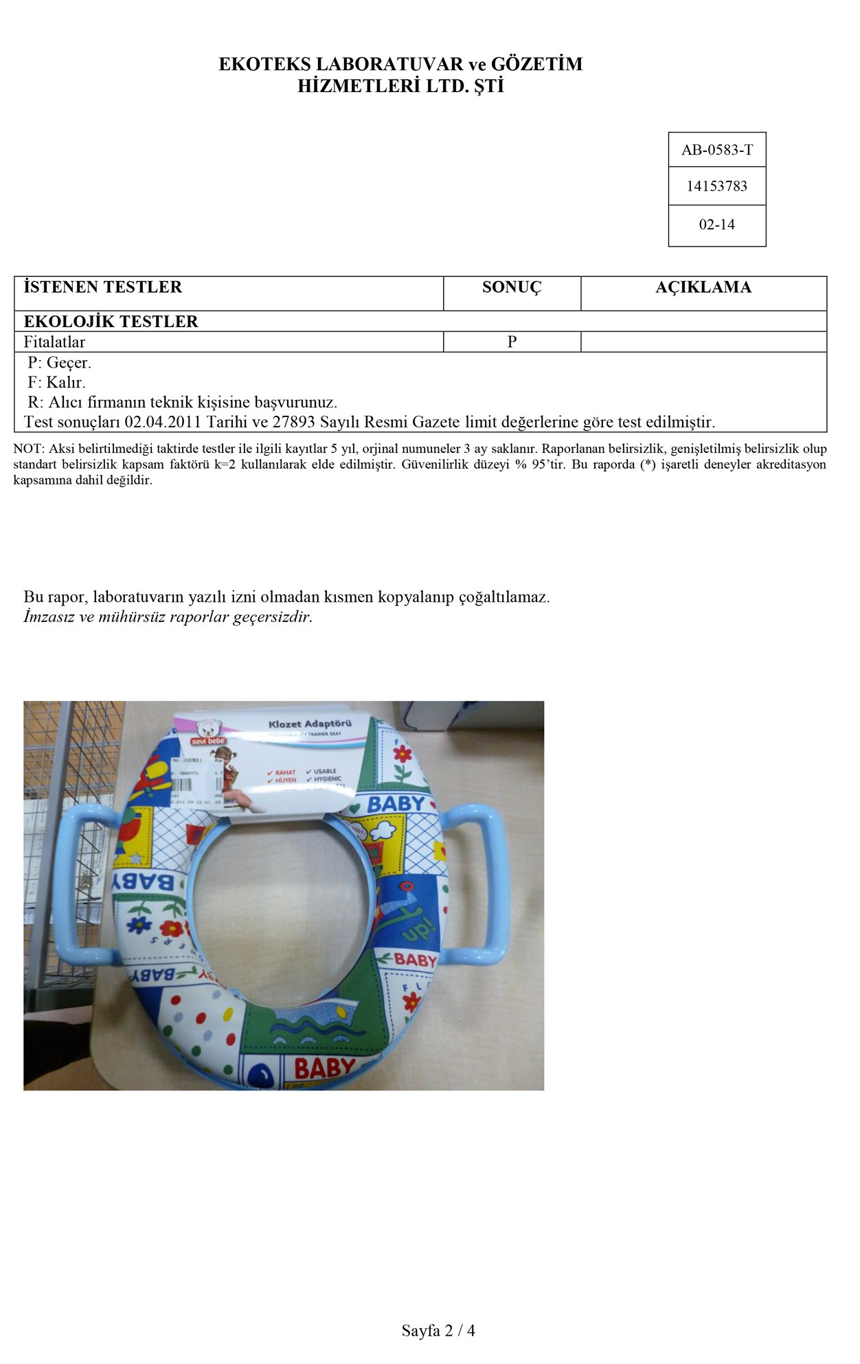 Klozet Adaptörü Test Raporu 2