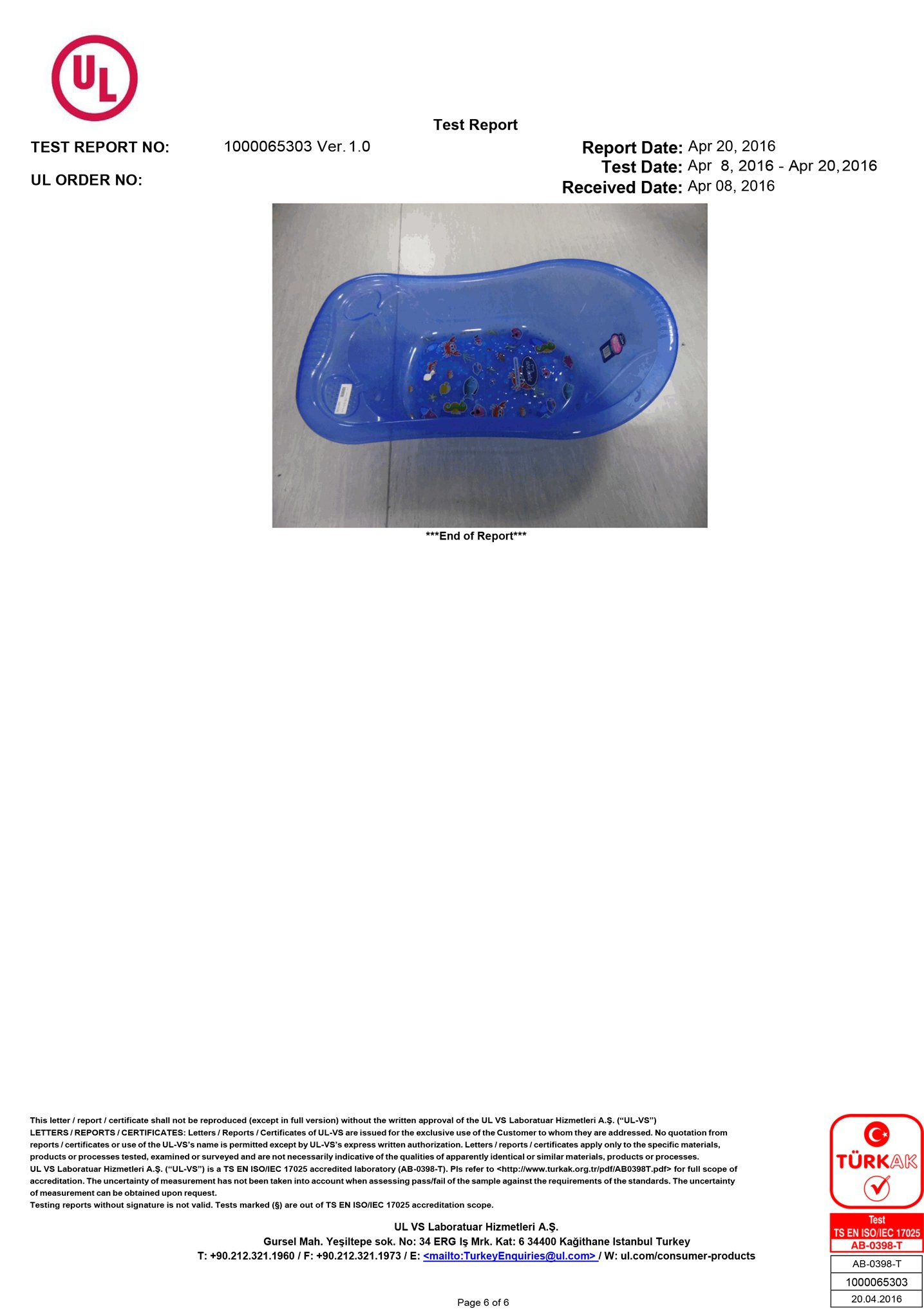 Desenli Giderli Şeffaf Banyo Küveti Test Raporu 6