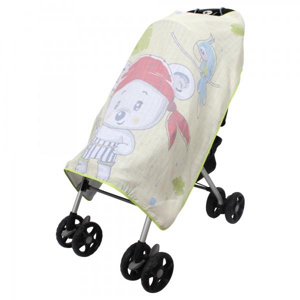 Pano Baskılı Müslin Bebek Arabası Örtüsü