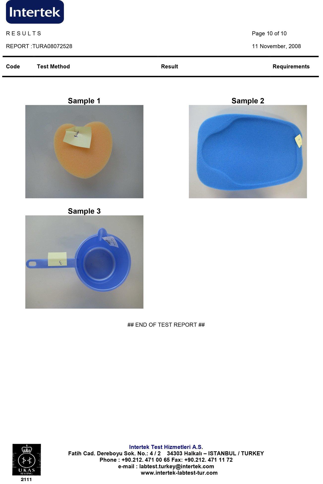 Bebek Banyo Süngeri Test Raporu 10